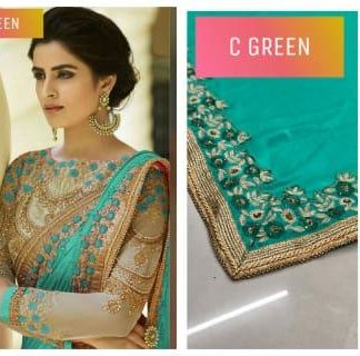 Rangoli Silk Embroidery Cut Work less & Diamond Party Wear Sea Green Color Designer Saree