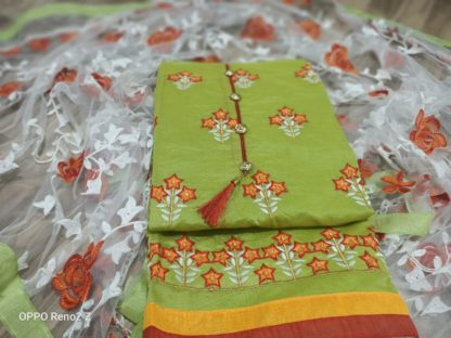 Exclusive Embroidery Work Chanderisilk Dress Green Colour DD1