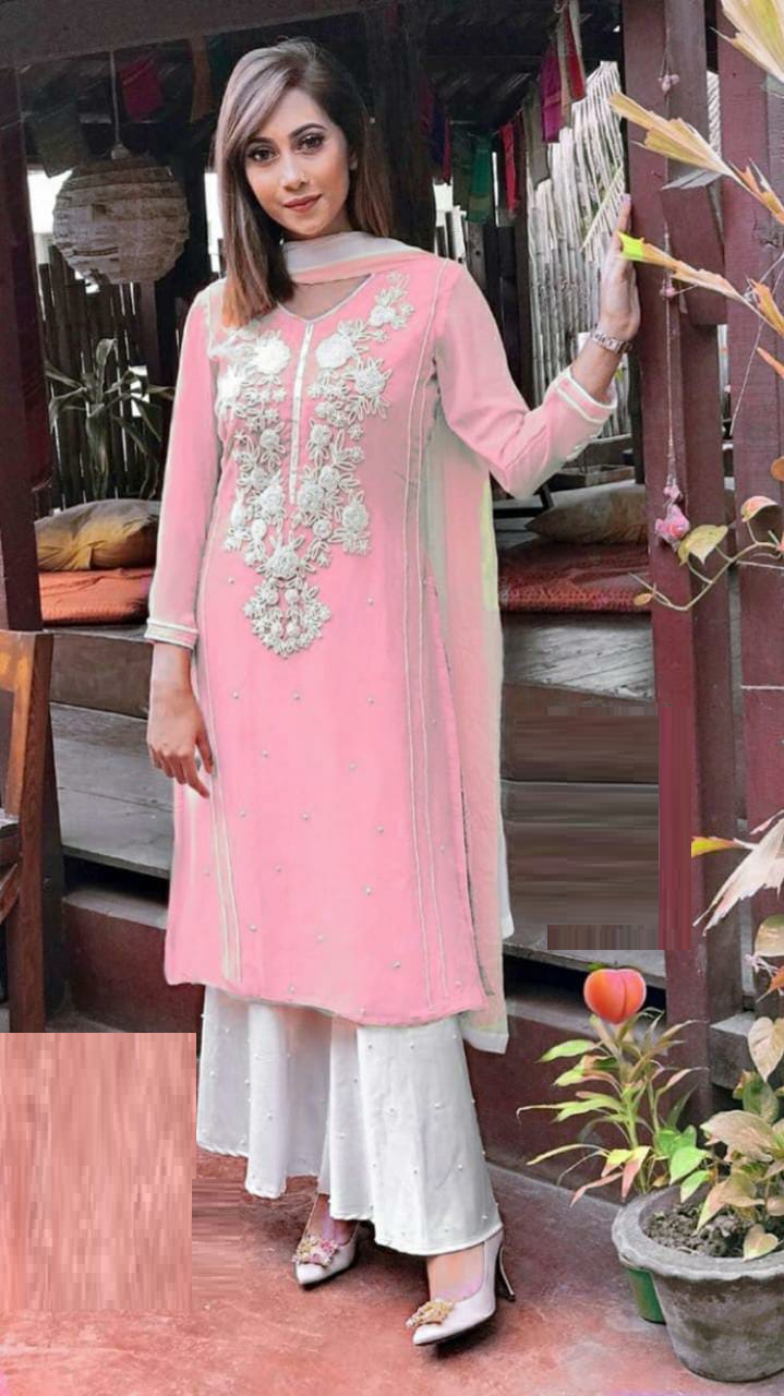 Premium Quality Georgette With Beautiful Embroidered And Moti Work Peach Color Designer Kurti Plazzo