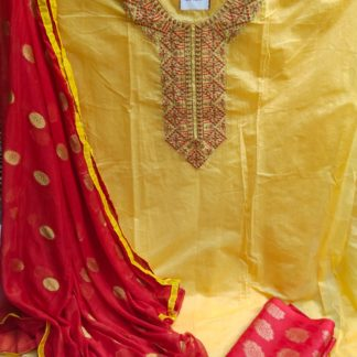 Exclusive Designer Fine Look Embroidery Design Yellow Color Suit For Women dd
