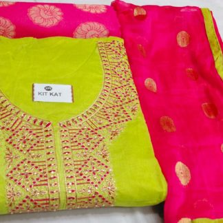Exclusive Designer Fine Look Embroidery Design Liril Yellow Color Suit For Women dd