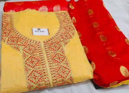 Exclusive Designer Fine Look Embroidery Design Bright Yellow Color Suit For Women dd