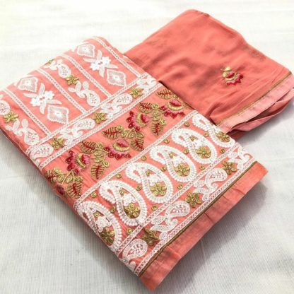 Exclusive Dress Material With Beautiful Embroidery Work Fine Look Suit Peach Color For Women dd