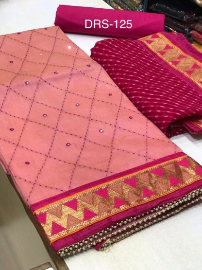 Exclusive Designer Semi Modal Embroidery Design Pink Color Suit For Women dd