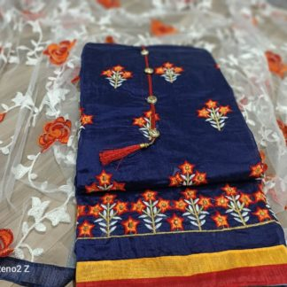 Exclusive Embroidery Work Chanderisilk Dress Navy Colour DD4