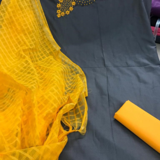 Sophisticated Grey and Yellow Color Cotton Hand Work with Moti Rich Look Function Wear Dress DDK