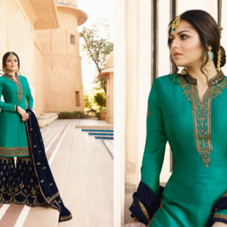 Aqua Green And Blue Satin Georgette With Embroidery And Stone Work Sharara Suit DL611