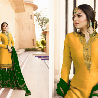 Adorable yellow and green Satin Georgette With Embroidery And Stone Work Sharara Suit DL611