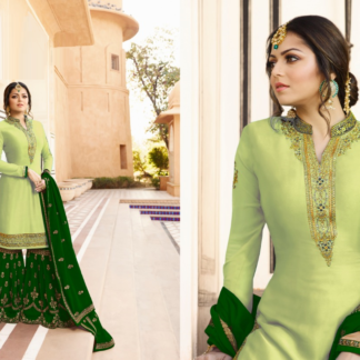 Pista and Green Embroidered And Stone Work Satin Georgette Sharara Suit DL611