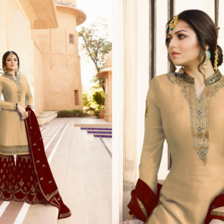 Cream Pink and Maroon Satin Georgette Embroidered And Stone Work Sharara Suit DL611
