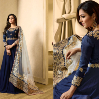 Ithnic WearBanglory With Codding Embroidery Work Heavy Georgette Blue Semi Stitched Gown DL616