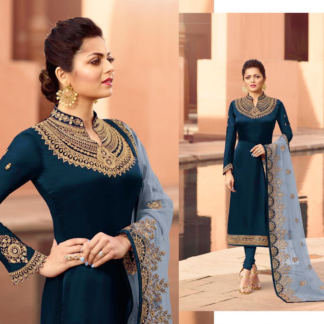 Sphere Bright Blue Heavy Georgette Satin with Embroidery Stitched work Party Wear Suit-DL626