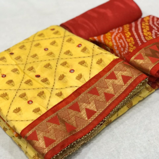 Attractive Embroidery Entrancing Yellow Chanderi Silk Mirror Work with print Salwar Suit Material For Women SN