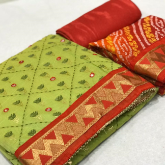 Forest Green Beautiful Embroidery Chanderi Silk with Mirror Work with print Salwar Suit Material For Women SN