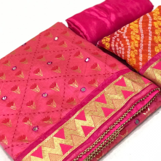 Ethinic Pink Chanderi Silk Mirror Work with Print and Fine Embroidery Salwar Suit Material For Women SN