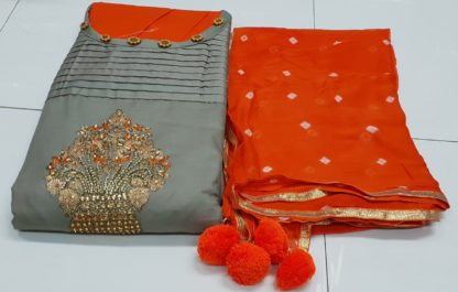 Beautiful Embroidery and Hand Work Exclusive Design Soft Cotton Silver Color Designer Salwar Kameez