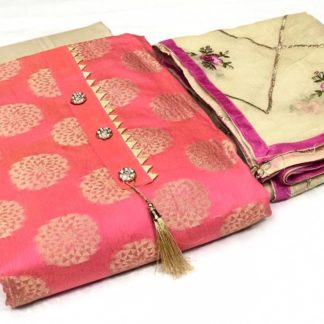Pink Color Exclusive Banarasi Dress Material Suit For Women
