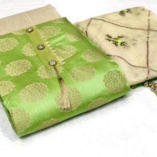 Green Color Exclusive Banarasi Dress Material Suit For Women