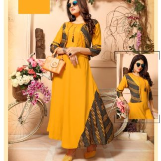 Stylish Amazing Golden Yellow Designer Party Wear Long Rayon Kurti with Separate Jacket and Add on Hand Work