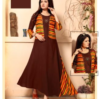 Stylish Designer Party Wear with Separate Jacket and Add on Hand Work Amazing Brown Long Rayon Kurti