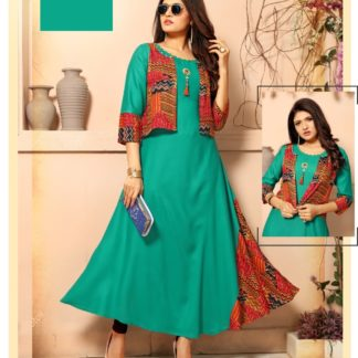 Energetic Aqua Green Designer Party Wear Long Rayon Kurti with Separate Jacket and Add on Hand Work