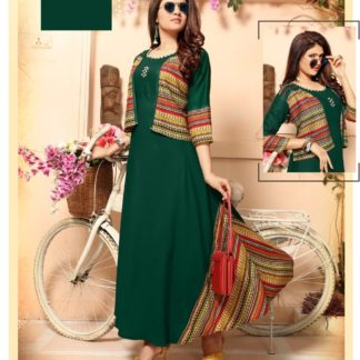 Exclusive Dark Green Stylish Designer Party Wear Long Rayon Kurti with Separate Jacket and Add on Hand Work