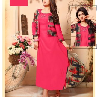 Stylish Designer Party Wear Prominent Pink Long Rayon Kurti with Separate Jacket and Add on Hand Work