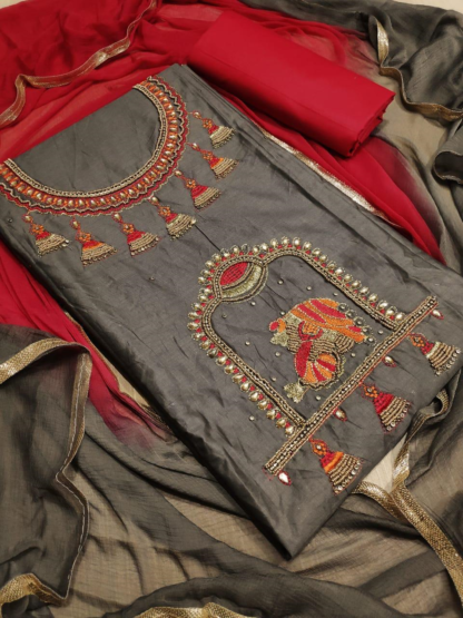 Beautiful Embroidery Work Cotton Grey Color Designer Dress