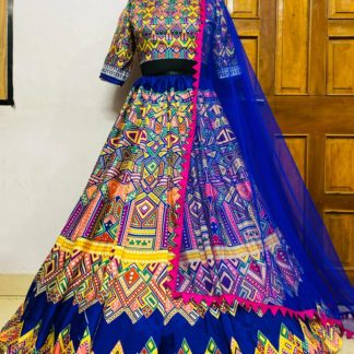 Beautiful Taffeta Silk Classical Royal blue Designer Printed Lehenga