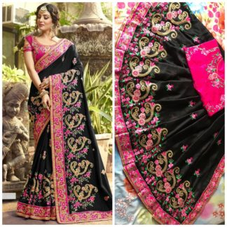 Black Color Rangoli silk saree with embroidery with coding work Party Wear Exclusive Designer Saree