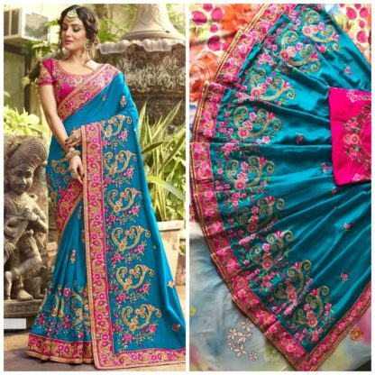 Sky Blue Rangoli silk saree with embroidery with coding work Party Wear Exclusive Designer Saree