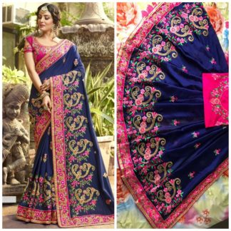 Royal Blue Rangoli silk saree with embroidery with coding work Party Wear Exclusive Designer Saree