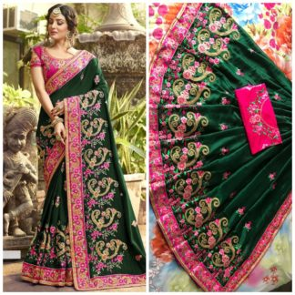 Bottol Green Rangoli silk saree with embroidery with coding work Party Wear Exclusive Designer Saree