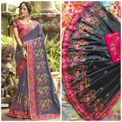 Grey Color Rangoli silk saree with embroidery with coding work Party Wear Exclusive Designer Saree