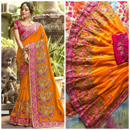 Orange Color Rangoli silk saree with embroidery with coding work Party Wear Exclusive Designer Saree