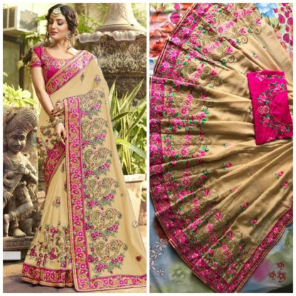 Skin Color Rangoli silk saree with embroidery with coding work Party Wear Exclusive Designer Saree