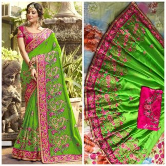 Parrot Color Rangoli silk saree with embroidery with coding work Party Wear Exclusive Designer Saree