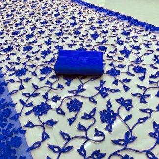 ExclusiveViscose Net Beautiful Embroidery Chain Work Blue Color Saree