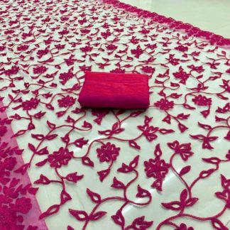 ExclusiveViscose Net Beautiful Embroidery Chain Work Pink Color Saree KFS2