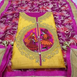Exclusive Design Embroidery Work Satin Cotton Bright Yellow Color Designer Suit DD