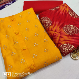 Exclusive Embroidery Glaze Cotton Red Color Designer Suits