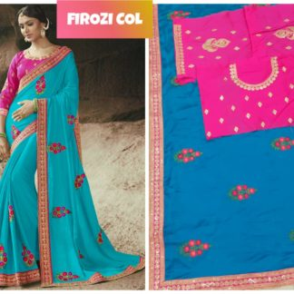 Sky Blue Rangoli Silk Embroidered Lace Work Party Wear Exclusive Designer Saree