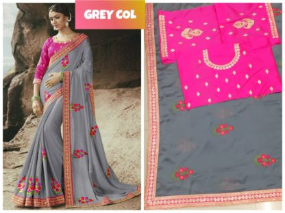 Silver Grey Rangoli Silk Embroidered Lace Work Party Wear Exclusive Designer Saree