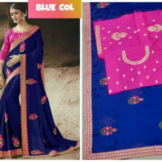 Royal Blue Rangoli Silk Embroidered Lace Work Party Wear Exclusive Designer Saree