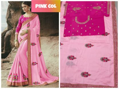 Baby Pink Color Rangoli Silk Embroidered Lace Work Party Wear Exclusive Designer Saree
