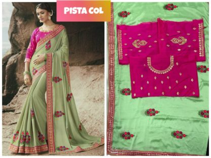 Pista Green Color Rangoli Silk Embroidered Lace Work Party Wear Exclusive Designer Saree