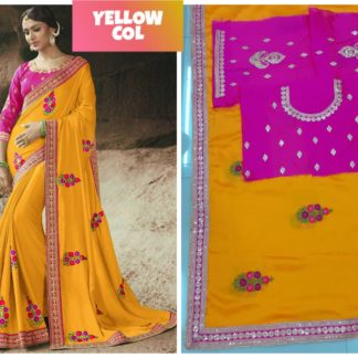 Yellow Color Rangoli Silk Embroidered Lace Work Party Wear Exclusive Designer Saree