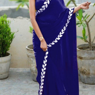 Royal Blue Color Pure Vichitra Silk Embroidered Plain Saree With Blouse piece