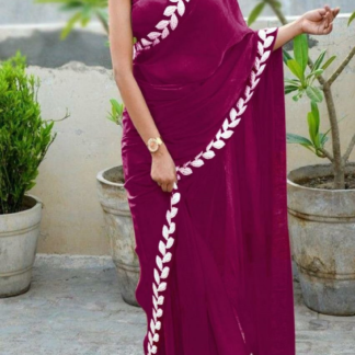 Maroon Color Pure Vichitra Silk Embroidered Plain Saree With Blouse piece