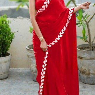 Red Color Pure Vichitra Silk Embroidered Plain Saree With Blouse piece